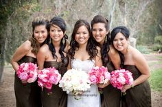 Brown gowns with pink flowers