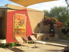 tuscan patio, backyard landscaping, backyard art, artwork