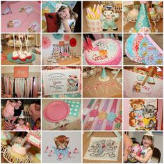 {vintage kitten birthday party}...cute cake