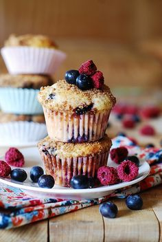 Mixed Berry Yogurt Muffins. Healthy. Yummy. Fresh berries will really rock these muffins. #muffins