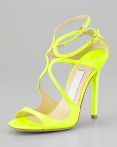 Lang Patent Strappy Sandal, Yellow by Jimmy Choo