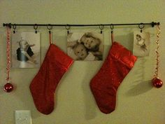 Idea for hanging stockings without a fireplace!!