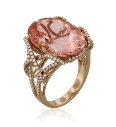 Yael Designs Lyra Collection Morganite and Diamond Ring