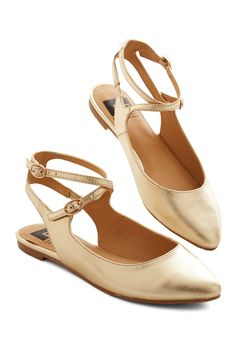 Happy Henceforth Flat in Gold. From the moment you don these strappy slingbacks by BC Footwear, walking onward will inspire many smiles! #gold #modcloth