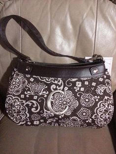 Thirty-One Suite Skirt Purse in Brown with Brown Woodblock Floral