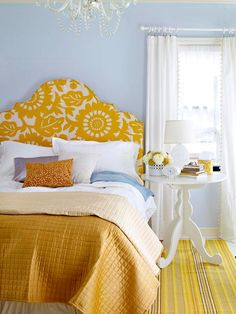 pattern, color schemes, color combos, blue walls, guest bedrooms, diy headboards, guest rooms, upholstered headboards, mustard yellow