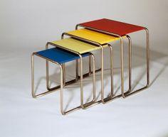 nesting tables, color palettes, marcel breuer, vintage tables, chair design, bauhaus, bright colours, table designs, nest tabl