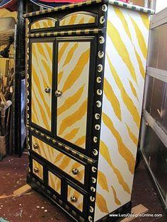 yellow zebra armoire