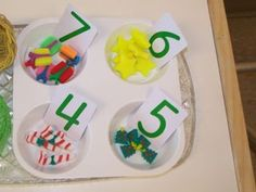 math tubs, cup, bowl, eras, number card, place, math idea, correct number, christma count