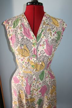 1940s novelty abstract fish pattern day dress by WearthatDress, $110.00