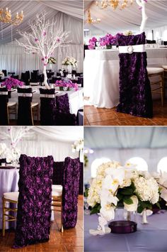 Lush deep purple wedding chair covers.