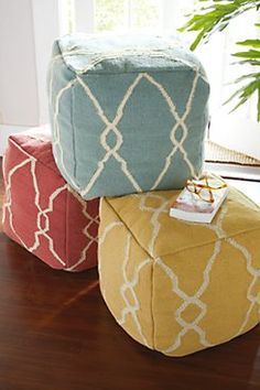 Colorful ottoman poufs... my first thought when I look at things like this: I can make that!
