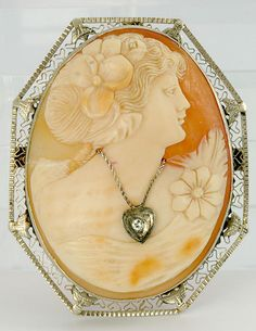 ANTIQUE 14K WHITE GOLD CARVED CAMEO DIAMOND PIN