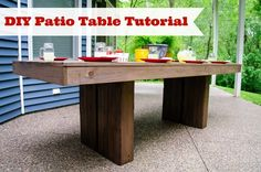 DIY Patio Table Tutorial from Decor and the Dog; learn how to make this chic modern porch table!