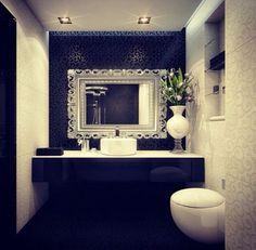 decor, mirror, powder room, small bathrooms, bathroom idea, black white, bathroom designs, white bathrooms, accent walls