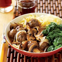 meatballs over noodles with savory mushroom and onion gravy. (Swedish?)