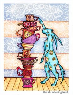 Art Print Rabbit and Teacups from Original by TheSlumberingHerd, $15.00