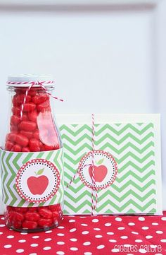 Candy Apple Teacher gift! Old starbucks bottle cleaned up, add apple jelly beans!