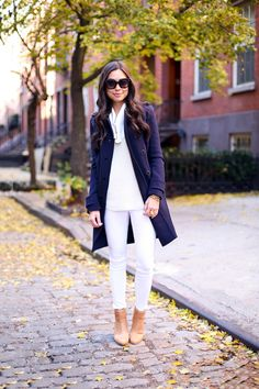 White skinny jeans, Cream sweater, Navy coat, Tan booties - With Love, From Kat