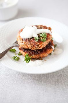 Pepper Crusted Salmon Cakes with Horseradish Sauce. (I substitute Greek Yogurt for sour cream or mayo, it tastes the same.)