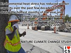 2/24/13 - Nature Climate Change Study: Hot & muggy weather has led to about a 10% drop in the physiological capacity of people to work safely and will increase as the climate continues to warm.    Read it here: http://science.nbcnews.com/_news/2013/02/24/17062733-global-warming-to-make-work-miserable-study-says?lite