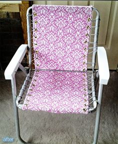 Great re-do of an old aluminum lawn chair (had the woven plastic back and seat before) via Better After