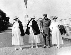 A recuperating Hemingway with Red Cross nurses, including Agnes von Kerowsky, Milan, 1918