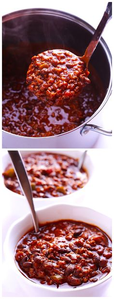 5 Ingredient Chili -- No one will ever guess this simple recipe has just five ingredients.  SO good! | gimmesomeoven.com #gameday #soup