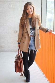 Can't go wrong with beige coat, black tights, denim shorts and stripes. tight