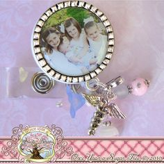 PHOTO Badge Reel, Baby Photo, Footpint Charm, RN Np Nursing, Id Clip, Bottle cap, Doctor Medical, Hospital, Teacher, School, Children. $19.00, via Etsy.