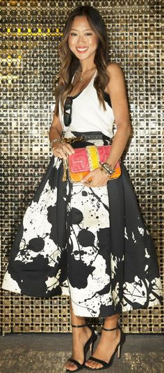 Skirt midi skirts, fashion weeks, full skirts, style, circle skirts, outfit, aime song, black white, new york fashion