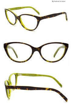 Tortoise + Lime Frames - try on 3 pairs on for free from RIvet and Sway