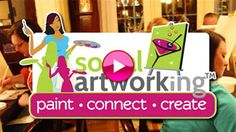 """Paint * Connect * Create with Social Artworking®  the perfect way to enjoy a night out (or in) with friends and family. With Social Artworking, an individual or group starts with a trendy 16"""" x 20"""" canvas art pattern and all the supplies needed to complete a canvas of their own. After a few hours of laughter and fun, they leave with a work of art that they created themselves. Make it a party with appetizers, desserts or cheese and wine, etc.  There's one in Porter Ranch, CA!"""
