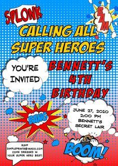 Comic Super Hero Party Invitation
