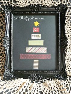 Christmas tree art, quick, easy craft, #christmastree, #christmasdecorations, #christmascraft, #diy, #thriftycraft