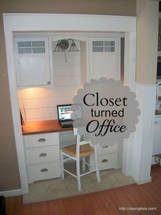Closet Turned Office! This is a great space saver and they used an upcycled dresser for the desk!