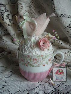 Pretty teacup pincushion