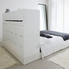 storage solutions, storage spaces, bedroom storage, beds, headboards, bedrooms, small space, bed head, room dividers