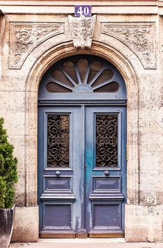 Faded Blue Door Photograph, Paris, France, French Home Decor $30.00