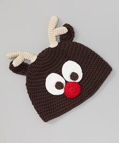 Dark Brown Front Reindeer Crochet Beanie   #crochet #inspiration