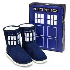 Doctor Who slipper boots that look like a Tardis and comes with a Tardis shoebox.