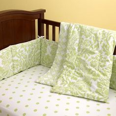 Crib Bedding: Baby Green Floral Crib Bedding-cute paired with pink