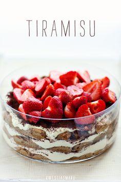 Tiramisu topped with strawberries