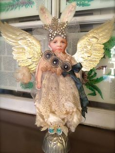 Bunny doll with wings by Robin Sanchez  http://onceuponapinkmoon.blogspot.com/ robin sanchez