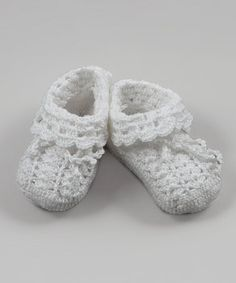Loving this White Fold-Over Crocheted Bootie on #zulily! #zulilyfinds