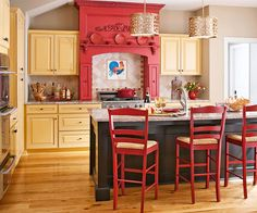 pendant lighting, color cabinet, red hood, country rooms, countri style, range hoods, colorful kitchens, country kitchens, mantl