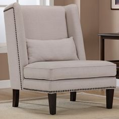 $270.99 Wing Chair Natural Linen   Overstock.com