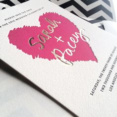 Our Urbanic letterpress and foil stamped Save the Date by Jessica Tierney is perfect for a Valentine's inspired party!