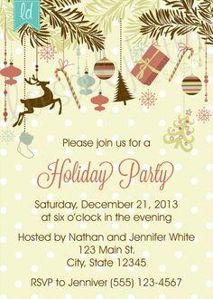 Holiday Party Printable Invitation Christmas Party Invitation Custom by LeesaDykstraDesigns