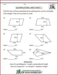 Quadrilateral Area Worksheet, fifth grade geometry worksheet